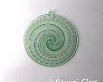 "Sun Catcher / Ornament  4"" diameter- Swirl Series- Assorted Green with Clear Hook  : DISASTER RELIEF"
