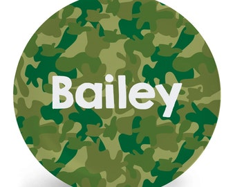 Camouflage Plate - Personalized Child's Plate - Camo in Various Color Options - Melamine Bowl or Plate Custom