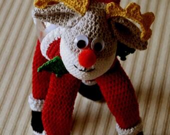 Santa Moose Christmas Ornament Cover Crochet Pattern PDF