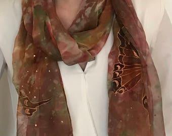 Scarf woman 100% silk, 60x170cm made hand