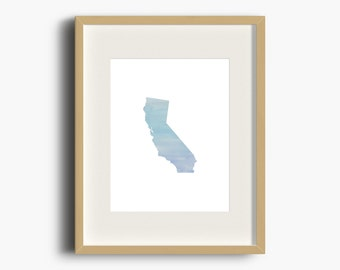 California Blue Ombre Watercolor Print | California Print | California Watercolor | California Nursery Art