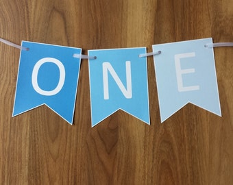 Blue ONE Banner High Chair Custom Made Shades of Blue Smash Cake Photo Shoot Bunting Banner 1st First Birthday Decoration