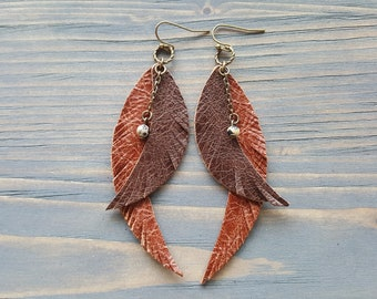 Double feather earrings Brown leather earrings Tribal earrings Boho jewelry Long dangle earrings Bohemian earrings Hippie earrings