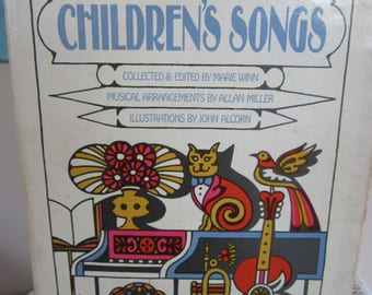 Vintage Book The Fireside Book of Children's Songs 1966 Mod Graphics