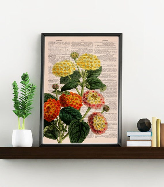 Lantanas bouquet printed on Dictionary Page wall art home decor, wall hanging, flower Lantana wall decor BFL110