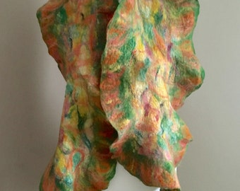 Sale!  Nuno Felted Scarf   Nuno Felted Wrap  Wool Felted Scarf   Wool Silk Felting  Nuno Felted Scarf  Wool Accessories