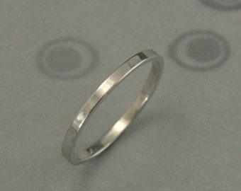 Platinum Wedding Band--Women's Platinum Ring--Women's Wedding Band--Thin Platinum Band--Flat Platinum Band--Handmade Platinum Band