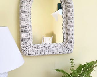 Vintage White Wicker Mirror, Arch Shaped, Wall Mirror, Cottage Chic, Beach House, Boho