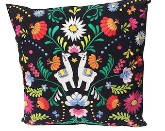 Embroidery Cushion, Llama Embroidery, Embroidery Pillow, Colourful Cushion