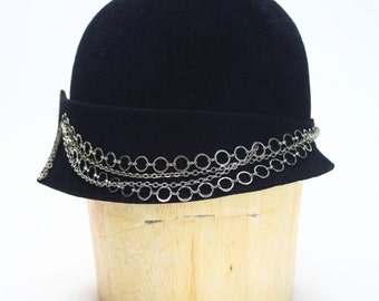 1920s/1930s Black Brimless Velour Fur Felt Cloche Fall/Winter Flapper Hat with Silver Chain Detail- Couture Millinery/LadiesHat/