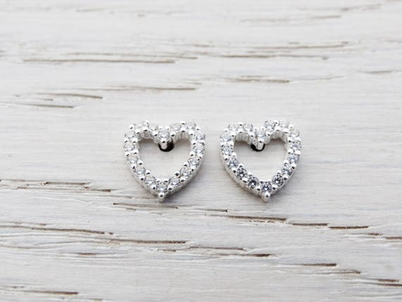 Sterling Silver Heart Studs, Cubic Zirconia