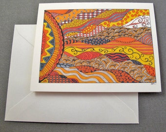 Sunset Stationery Set - Set of 8 Blank Inside Card Set - Southern California Scene