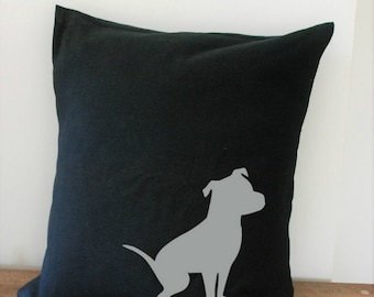 Pit Bull Pillow Cover Black Canvas with Silver Pit Bull Shape Natural Ears 18x18 Inch Cover Made to Order