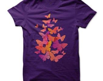 Butterfly t shirt, Garden shirt, butterfly pillowcases, airbrush shirt, gift for her, Monarch butterfly art, Monarch butterfly clothing