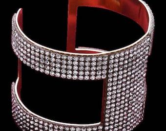 VINTAGE WIDE Rhinestone open cuff bracelet in gold tone