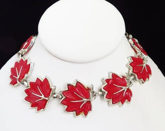 Red Thermoset Necklace - Vintage Red Leaf Choker, Silvertone Link Necklace