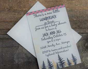 Lumberjack, Baby shower, Printable Invitation, Digital, Invitation