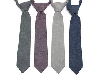 Linen Boys Necktie~Cotton Necktie~Wedding Tie~Boys Pretied Necktie~Linen Necktie~Purple Linen~Nautical Linen~Gray Linen~Shale Linen