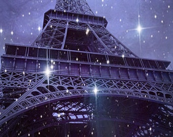 Paris Photography, Sparkling Eiffel Tower Stars, Lavender Eiffel Tower Celestial Photo, Surreal Eiffel Tower Stars, Paris Night Photography