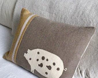 Hand printed minky  brown piggy cushion