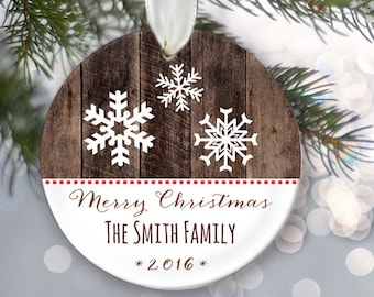 Personalized family name ornament, Snowflake personalized family ornament, Custom Christmas Ornament, Faux wood, Name & Year OR557