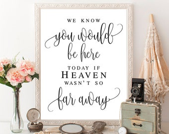 We know you would be here today If heaven wasn't so far away Memorial sign for wedding Memory sign for wedding Christian wedding #vm41