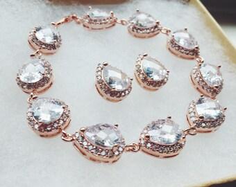 Rose Gold Jewelry Set, Crystal Jewelry Set, Teardrop Jewelry, Wedding Jewelry Set, Bridesmaid Jewelry Set, Bridal Jewelry, Bridal Bracelet