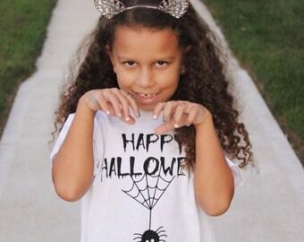 Happy halloween shirt, kids shirt, kids spider shirt, spider tee, trick or treat shirt, halloween shirt, kids halloween, scary shirt