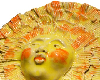 Ceramic sculpture, sun Face Mask, Wall sculpture, Garden art, wall hanging, Home decor,