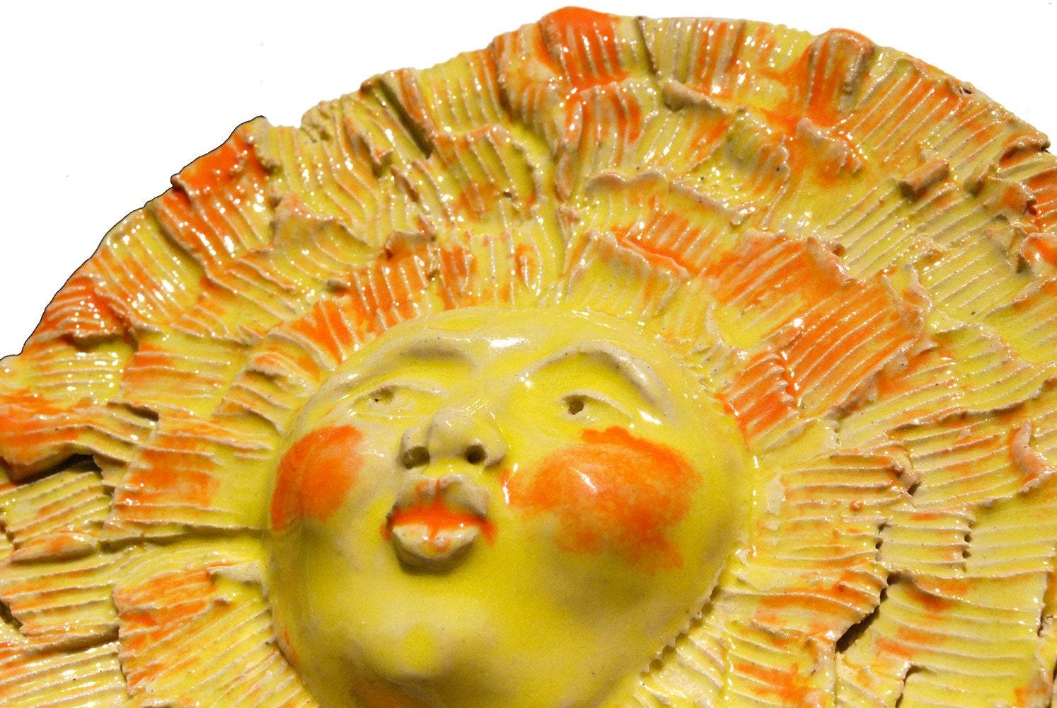 Ceramic sculpture sun Face Mask Wall sculpture Garden art