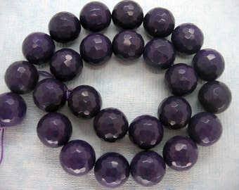 16mm Beautiful Dark Violet Faceted Round Beads - 15.5 Inch Strand