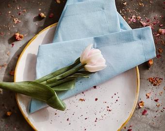 Blue Linen Napkin Set of 6 8 10 12 - Greyish Blue Linen Napkins - Wedding Napkins - Easter Table - Blue Wedding - Elegant Table Decor - Gift
