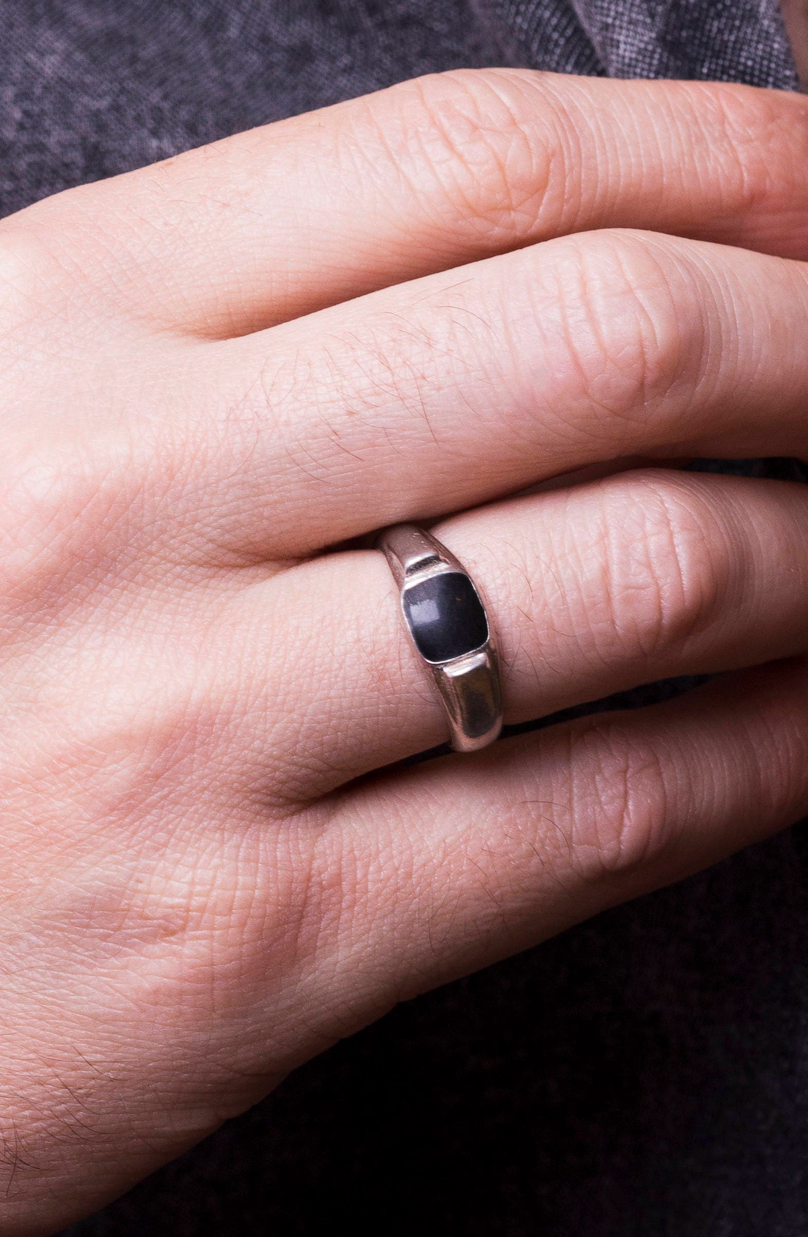 Silver signet ring Mens silver ring Statement ring Black