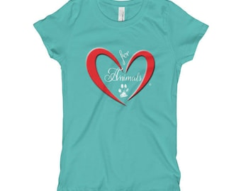 Heart of Love for Animals - Girl's T-Shirt