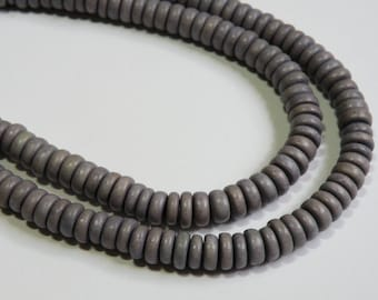 Gray Grey Silver Platinum wood beads rondelle bright Cheesewood 8x4mm eco-friendly full strand 9585NB