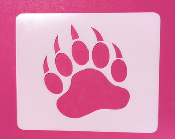Bear Paw Stencil, Reusable, Mylar, Craft Stencil, Painting Stencil, Stenciling, Paw, Template