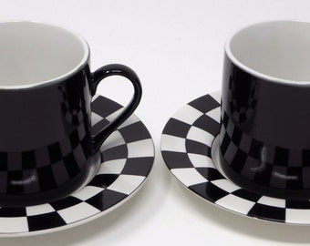 Black vintage espresso cups on black and white checkered saucers | made in Japan and perfect for mid-century accents