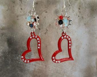 Steampunk earrings red hearts wire wrapped gears