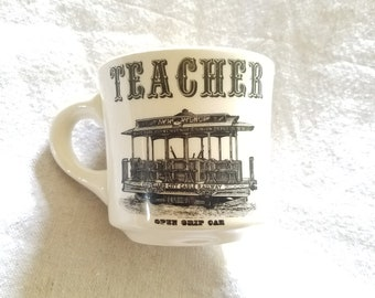 Vintage Cleveland Streetcar Teacher Mug Souvenir Coffee Cup Ohio Memorabilia 1950s Made in the USA Early Transportation Cable Car Gift