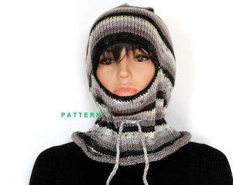 Custom Hand Knit Ski Mask PDF Pattern, Knitted Ski Mask Tutorial Patterns