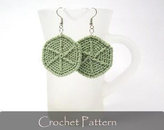 CROCHET PATTERN - Crochet Hexagon Earrings Pattern Geometric Crochet Pattern Jewelry Crochet Tutorial PDF - P0022