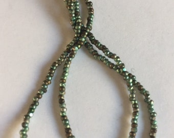 RARE - Antique Metal  Micro Beads - PALE Green and DARK Bronze