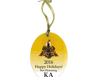 Kappa Alpha Holiday Color Crest Glass Ornament