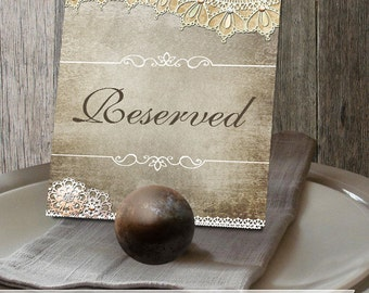 Rustic Lave Wedding Reception Reserved Sign pdf Digital Printable Faux Vintage Lace, Flowers and distressed bkg