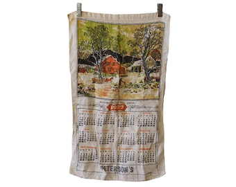 Vintage 1977 Cloth Calendar Peterson's Returning to the Farm
