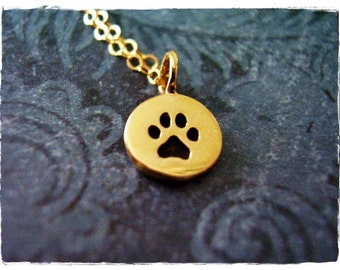 Tiny Gold Paw Print Necklace - Bronze Paw Print Charm on a Delicate 14kt Gold Filled Cable Chain or Charm Only
