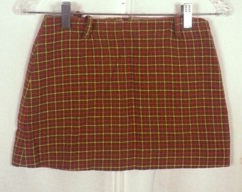 vtg 50s Girltown olive/red/yellow Plaid Flannel Skirt w/ pockets SZ 12