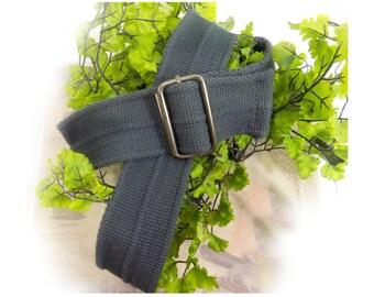 D ring belt,wide  D ring belt -canvas belt - unisex belt -wide belt, grey belt, size up to 44 inch ,  # B 17