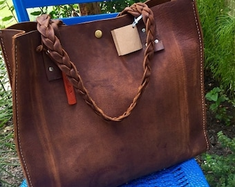 Summer Is Here Sale Distressed Leather Tote* Leather Tote* Soft Leather Tote* Large Leather Tote* Brown Leather Tote* Handmade in the USA