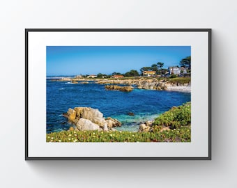 View of rocky coastline in Pacific Grove, California | Photo Print, Metal, Canvas, Framed.